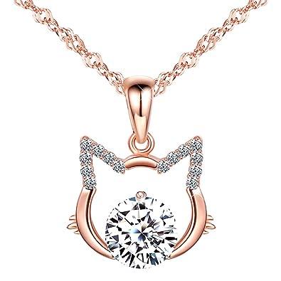 Infinito U- Collares Mujer de Plata de Ley 925 Colgante Gato con Diamante Brillante Idea Regalo para Mujeres Chicas: Amazon.es: Joyería
