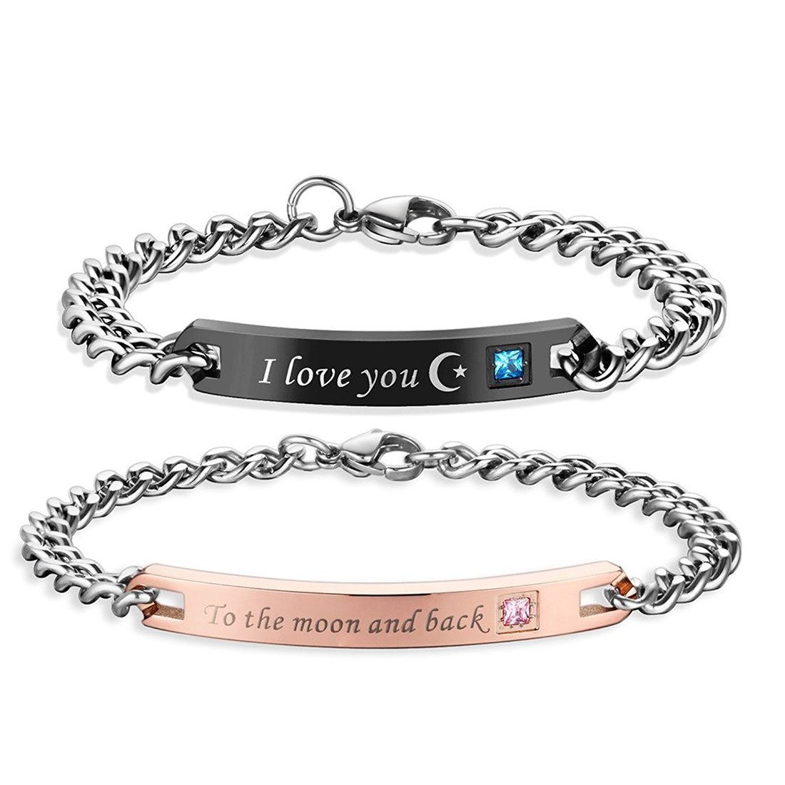 ''I love you To the moon and back''Couple Bracelets for Him and She Stainless Steel Bangle for Couples