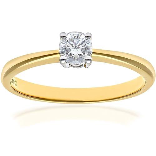 Naava Anillo de Compromiso para Mujer de Oro 9K con Diamante Redondo 0.25 ct talla 12