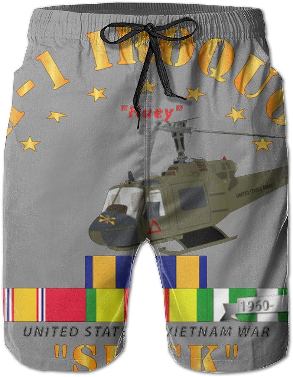 Slick W VN SVC Medals Mens Swim Trunks Bathing Suit Beach Shorts UH-1 Front Oblique Vietnam