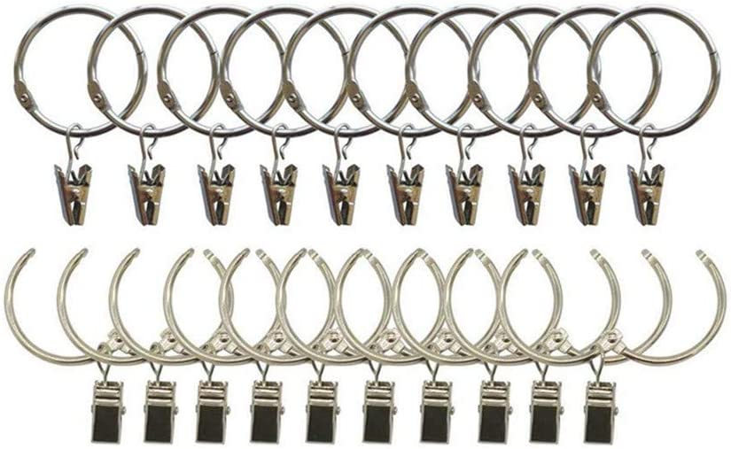 Silver ANJUU 24 Pack Heavy Duty Nickel Plated Metal Curtain Rings with Clips Hooks Open Rings for Curtains and Robs,Easy to Open and Close