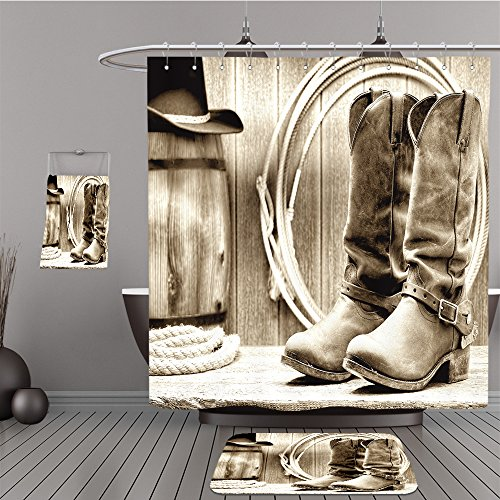 Uhoo Bathroom Suits & Shower Curtains Floor Mats And Bath Towels 97742192 American West rodeo cowboy traditional leather working rancher roper boots with authentic Western riding spurs in front of - Bath Towel Betty Set Boop