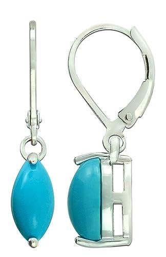 RB Gems Sterling Silver 925 Earrings GENUINE GEMS LONDON BLUE TOPAZ, PERIDOT 2 Cts, RHODIUM-PLATED