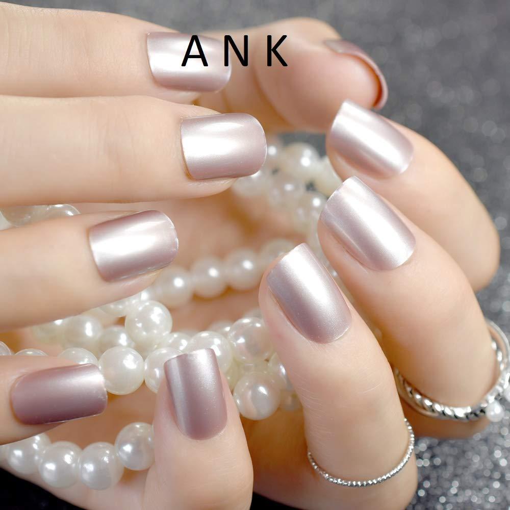 24 uñas postizas de color rosa natural con purpurina acrílica francesa blanca y transparente: Amazon.es: Belleza
