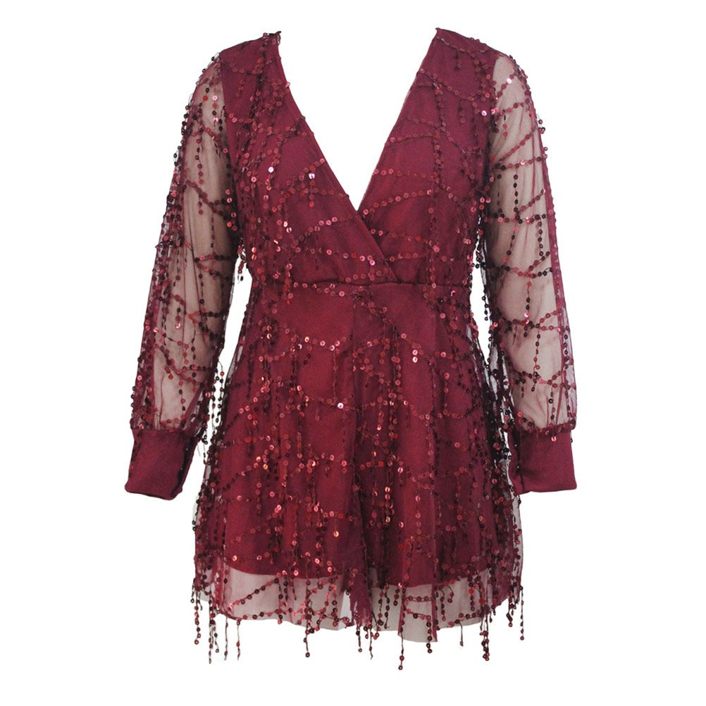 YFFaye Women's Burgundy Flowing Sequins Long Sleeves Romper by YFFaye