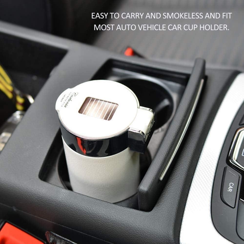 Festnight Posacenere Portatile per Sigarette Posacenere per Sigarette Senza Fumo Posacenere per Auto in Fibra di Carbonio con Cilindro Luminoso a LED