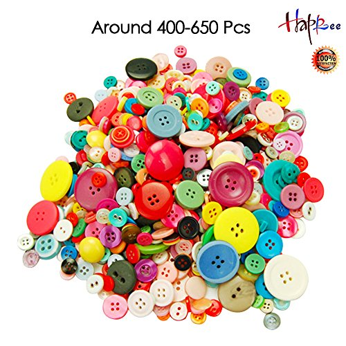 Happlee Around 400-650Pcs Basic Buttons Assorted Colors and Sizes Round Resin Buttons Mixed Buttons 2 and 4 Holes for Sewing, Art & Crafts Projects DIY Decoration and Scrapbooking(Colorful Series) by Happlee®