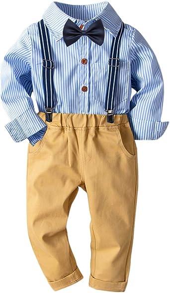 Bebé Niño Conjunto Gentleman Ropa Rayas Camisa + Bowtie + Suspender + Pantalones Traje de 4 Piezas: Amazon.es: Ropa y accesorios