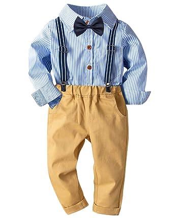 Bebé Niño Conjunto Gentleman Ropa Rayas Camisa + Bowtie + ...