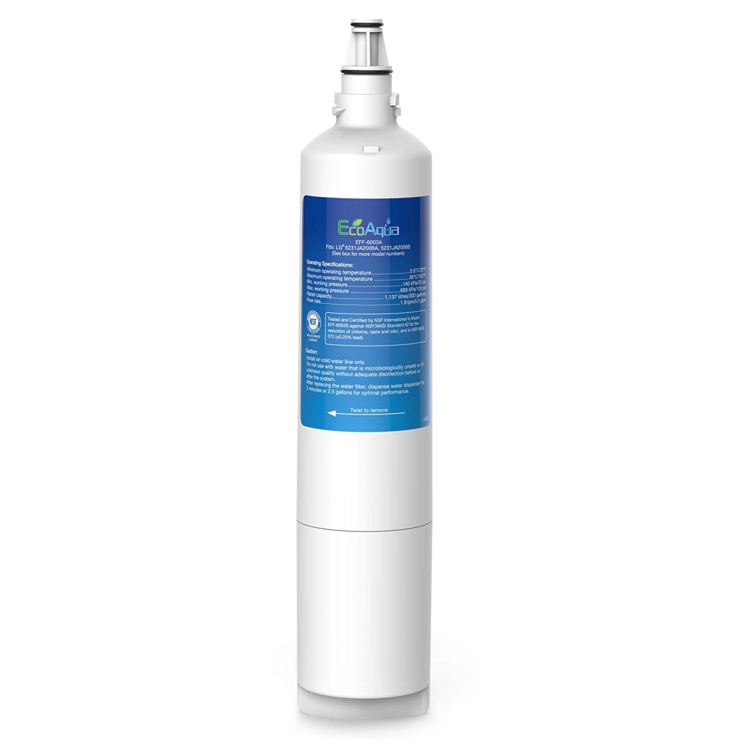 EcoAqua EFF-6003A Replacement Filter, Compatible with LG LT600P, 5231JA2006A, 5231JA2006B, KENMORE 46-9990, 9990, 469990 Refrigerator Water Filter