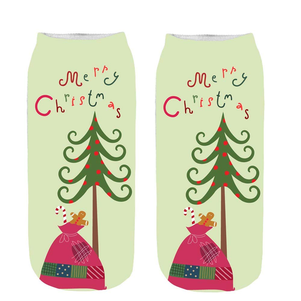 3D Unisex Pgojuni Christmas Funny Fashion Printed Casual Socks Cute Low Cut Ankle Socks 1PC (F)