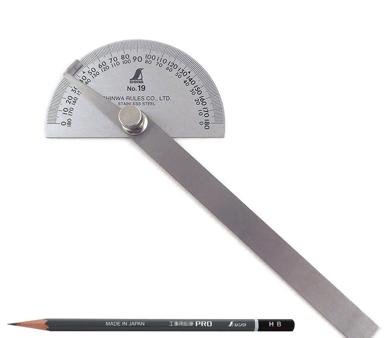 Shinwa Japanese #19 Stainless Steel Protractor 0-180 degrees with Round Head + Pencil for measurement work Pro HB 3 pcs 78519