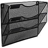 EasyPAG Office 3 Pocket Wall File Holder Organizer Hanging Metal Magazine Rack Black