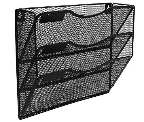 EasyPAG Office 3 Pocket Wall File Holder Organizer Hanging Metal Magazine Rack Black