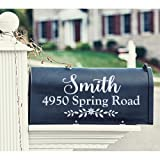 WallzTalk Personalized Mailbox Decal Custom Address Sign Family Name Decal Vinyl Lettering Farmhouse Decor