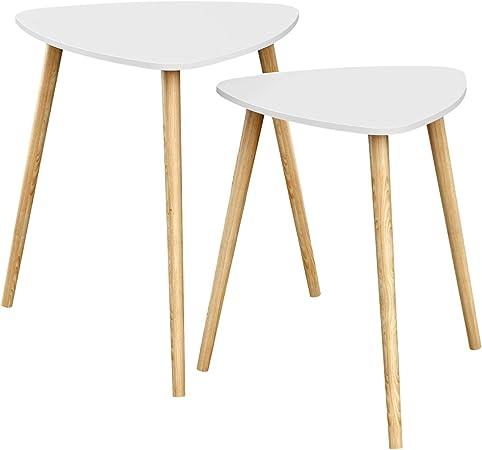 Songmics Tables Gigognes Lot De 2 Tables Basses Superposables Table D Appoint Triangulaire Style Scandinave Pieds En Bois Massif Blanc Et