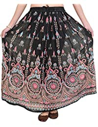 Exotic India Elastic Long Skirt with Floral Print