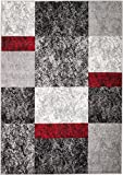 Rio V4-480Y-MTX5 Summit 310 Grey Red Black Area Rug Modern Abstract Many Sizes Available , DOOR MAT 22 inch x 35 inch