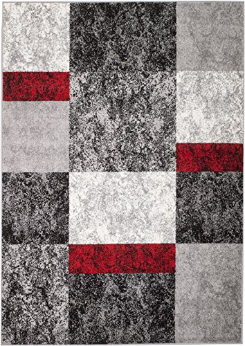 (Rio 7L-0DF5-G72S Summit 310 Grey Red Black Area Rug Modern Abstract Many Sizes Available  (2' x 7'), 2' x 7' hall way runner)