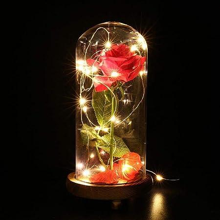 Anniversario Di Matrimonio Vacanza.La Bella E La Bestia Rose Incantate Rosa Rossa Di Seta E Luce A