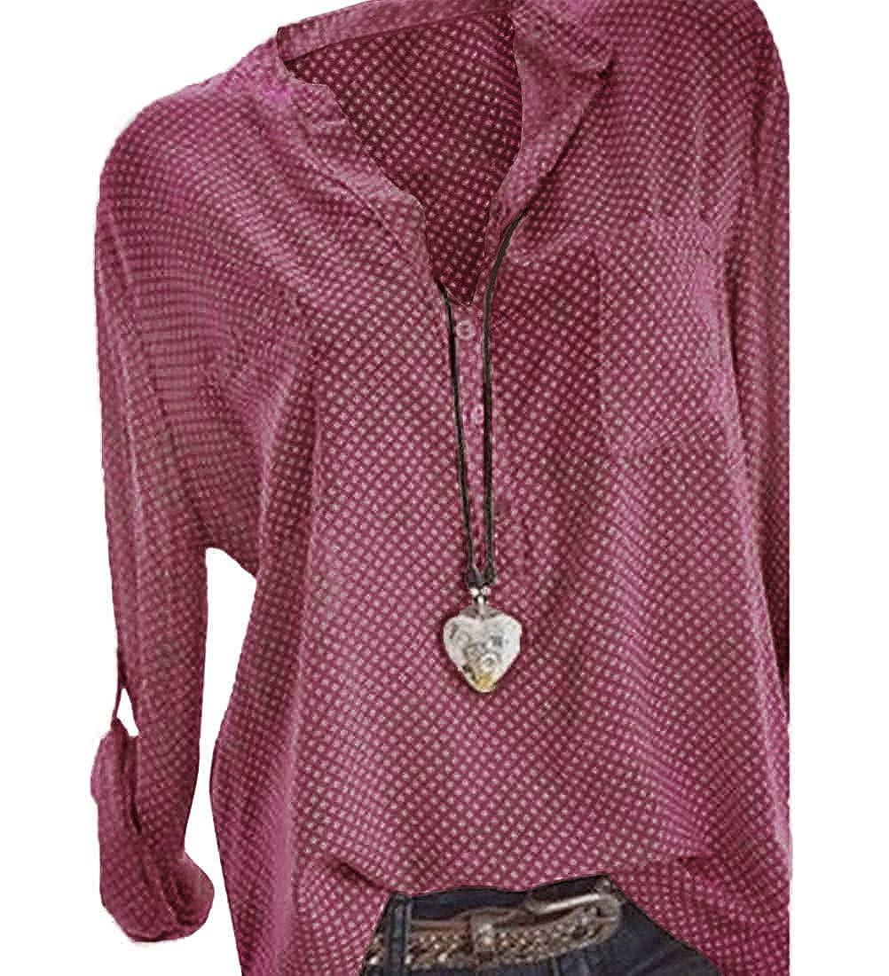 Imprimer /à Manches Longues /à Pois Femmes Button Chemisier Hauts Chemise Loose T-Shirts Blouse Et/é