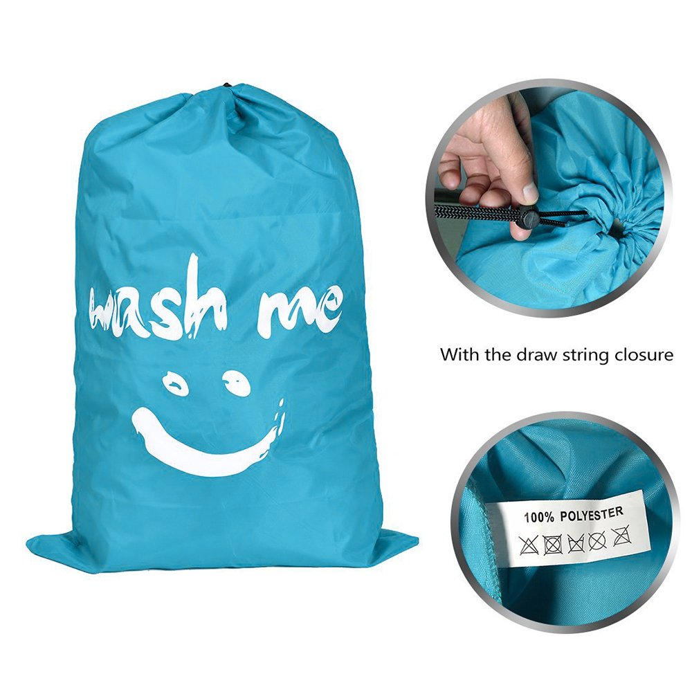 WISHPOOL Nylon Portable Laundry Bags Basket With Drawstring Collapsible Heavy Duty College Dirty Clothes Storage Bag 24 x 36.2 Inch (Blue)