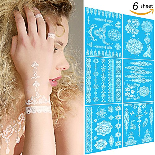 Leoars 6 Sheets Henna Tattoo Stickers Lace Chains Mandala Temporary Tattoo Body Paints for Wedding Makeup (White)