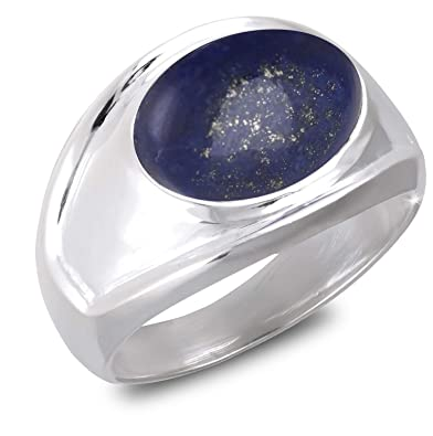 7cc7c661b4ba5 Aden s Jewels - Bague-Chevalière-Grande Taille-Cabochon Lapis Lazuli-Monture  Argent