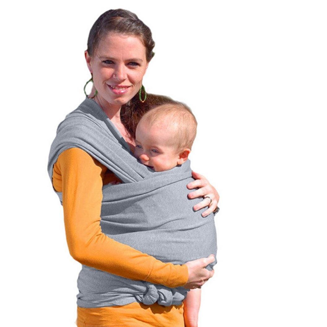 d6c16148355b QinMM Bébé Echarpes de Portage, Wrap Carrier Réglable Allaitement  Couverture Coton Sling Sac à Dos