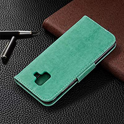 Strap Leather Case for Galaxy A6 2020,Wallet Cover for Galaxy A6 2020,Herzzer Elegant Green Butterfly Print Relief Magnetic Stand Case with Soft TPU: Kitchen & Dining
