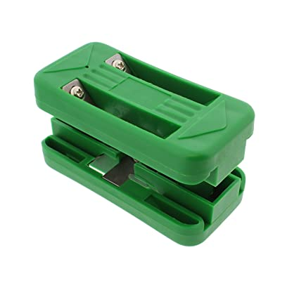DCT Wood Veneer Double Edge Banding Trimmer, 1/2 to 1in – Spring-Loaded 6  Blade Band Trimming Tool for Plywood Edges