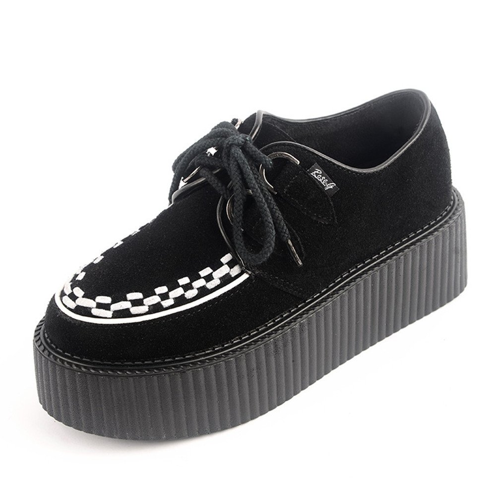RoseG Femmes Forme Cuir Lacets Creepers Plate Forme B000LEQMF2 Punk Creepers Blanc 112ae6c - gis9ma7le.space