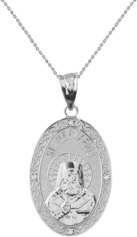 Colgante de Plata de Ley con Medalla Ovalada de San Nectario de Aegina CZ (1 Pulgada)