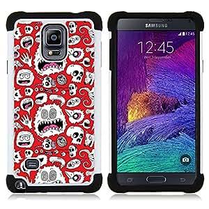 BullDog Case - FOR/Samsung Galaxy Note 4 SM-N910 N910 / - / ART SKULLS ALIEN WALLPAPER WHITE MONSTER /- H??brido Heavy Duty caja del tel??fono protector din??mico - silicona suave