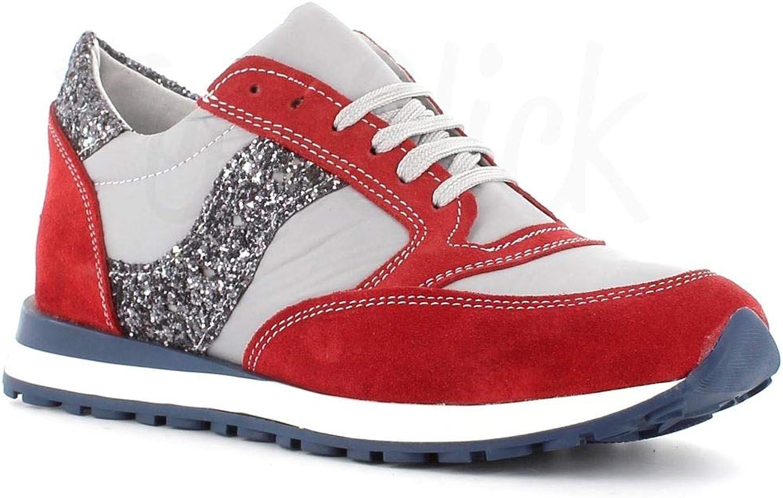 Made in Italy - Zapatillas de Piel con Purpurina, Color Rojo