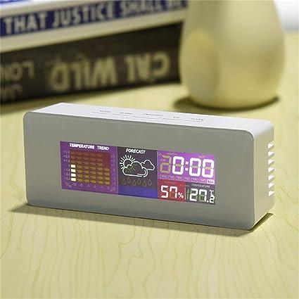 Footprintse Multi-Uso Digital LCD Color Pantalla termómetro Higrómetro Alarma Snooze Función Calendario Pronóstico de