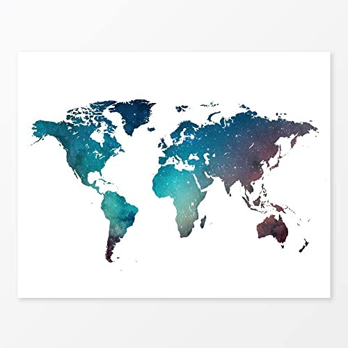 Amazon galaxy world map watercolor wall art print 11x14 handmade galaxy world map watercolor wall art print 11quot gumiabroncs Images