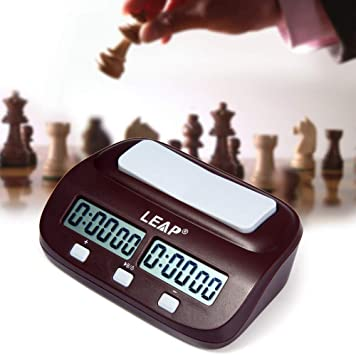 Perfectii Chess Clocks Timer Portable Digital Count Down Timer Quartz Battery Powered Analog Timer I-go Count Up Down Timer for Game Competition