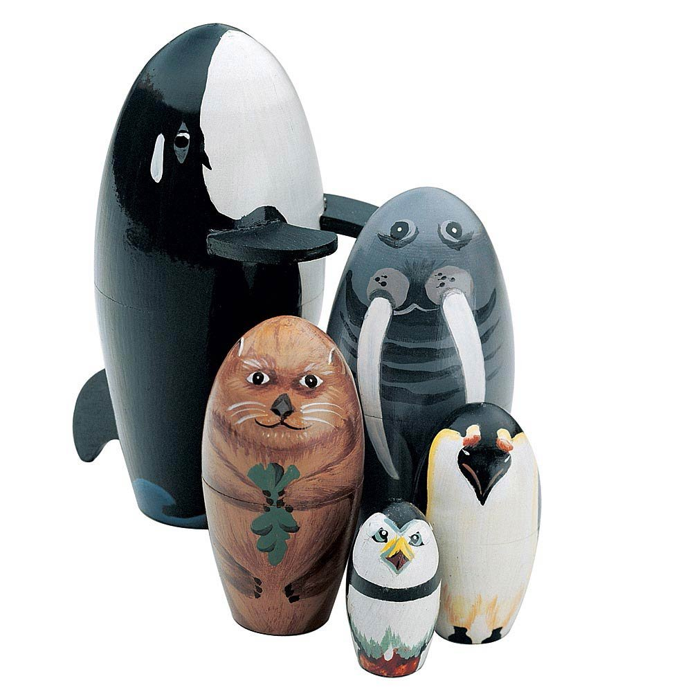 Bits and Pieces - ''Willy and Friends - Matryoshka Dolls - Wooden Russian Nesting Dolls - Sea Life Animal Figurines - Whale, Walrus, Penguin - Stacking Dolls Set of 5