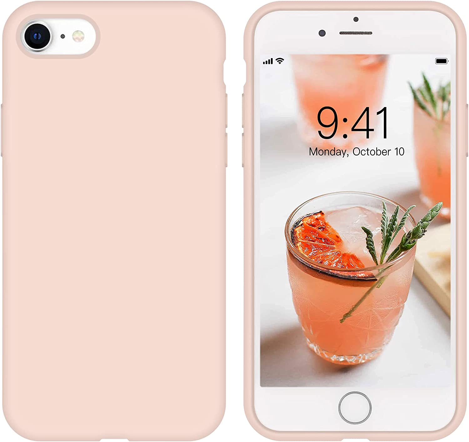 iPhone SE Case 2020 Liquid Silicone iPhone 8 Case, iPhone 7 Case ZVastt Slim Gel Rubber Phone Case Soft Anti-Scratch Durable Microfiber Lining Full Body Shockproof Protective Cover, Pink