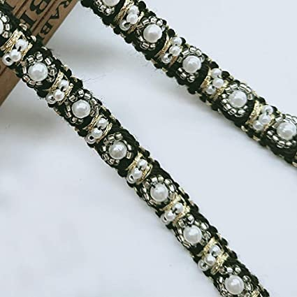 1 Yard Pearl Lace Trim Ribbon with Beads Gold Thread Edge Fabric Tape 1cm  Wide Vintage Style Black Edging Trimmings Fabric Embroidered Applique  Sewing Craft ... b24e48829abe
