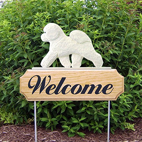 Bichon Frise Welcome Sign Outdoor Oak Wood Yard Sign (Frise Welcome Bichon Sign)