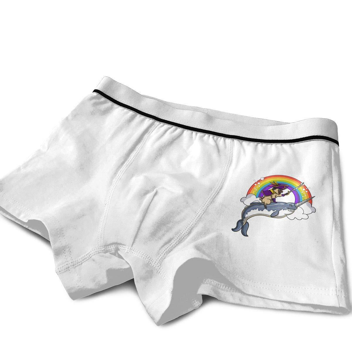 Pug Pirate Riding Narwhal Kids Cotton Boxer Briefs Underwear