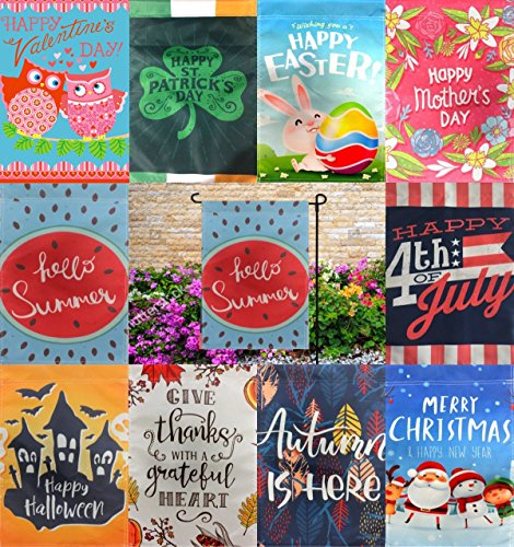 Seasonal Garden Flag Set for Outdoors Garden Decorations | 10 Pack Assortment of 12-inch x 18-inch Flags | Double-sided, Polyester, Great Yard Decor to Welcome Friends & (Holiday Yard Decor)