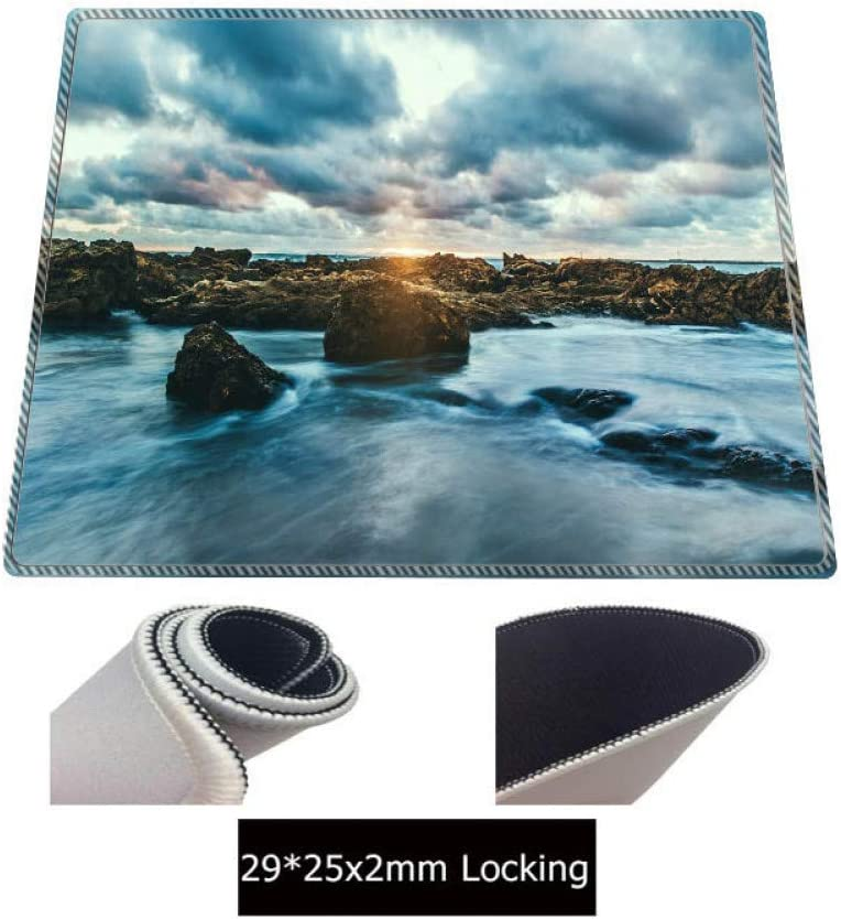 WHFDSBD Print Locking Edge Rubber Mousepads for Beach and Stone Scenery Mice Mat Computer Gaming Mouse Pad