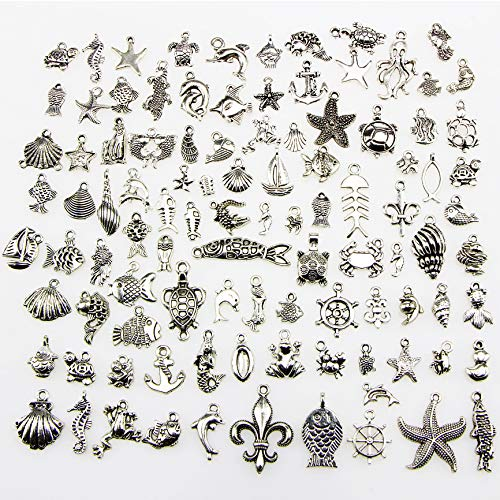 (Ginooars 100 Pieces Wholesale Vintage Color Ocean and Sea Fish and Other Animal Mix Size Charms DIY Pendant)