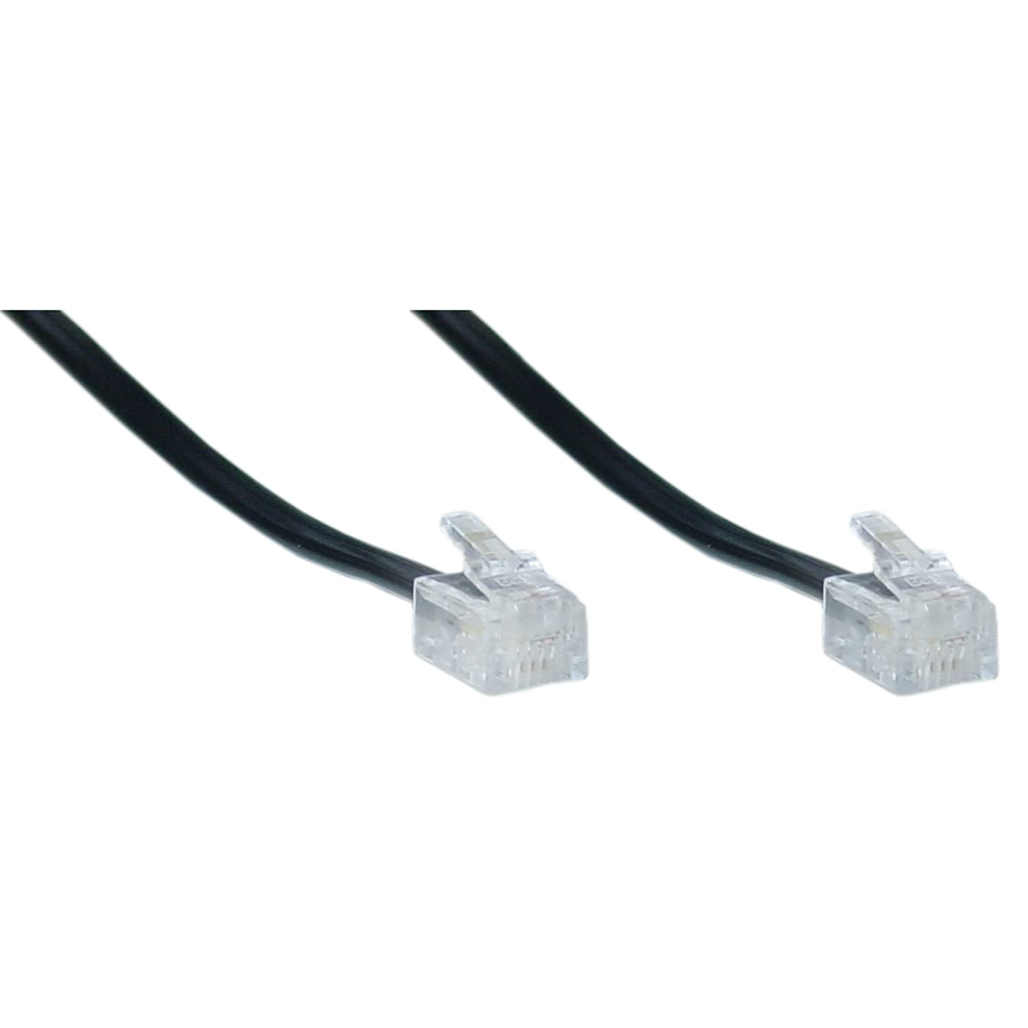 6 inch 4 conductor black telephone phone line cable cord wire- used for one  or two phone line phones rj11 / rj14 type end- commonly used in most  residential