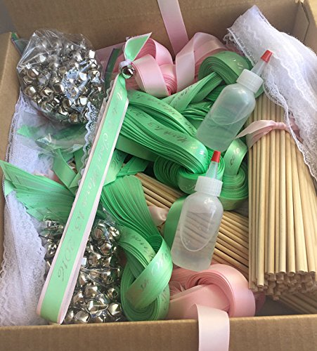 100 DIY Personalized Wedding wand kit ribbon send off your choice of colors by The Brides Made Shop