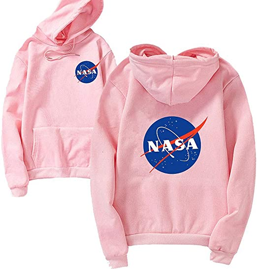 ANLW NASA Logo Felpa Uomo Donna Unisex Hoodie Bianco//Nero Moda con Cappuccio con Tasca a Marsupio