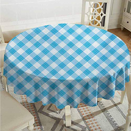 XXANS Stain Round Tablecloth,Checkered,Blue and White Gingham Fabric Texture Image Country Style Plaid Crossed Stripes,Party Decorations Table Cover Cloth,43 INCH,Blue White